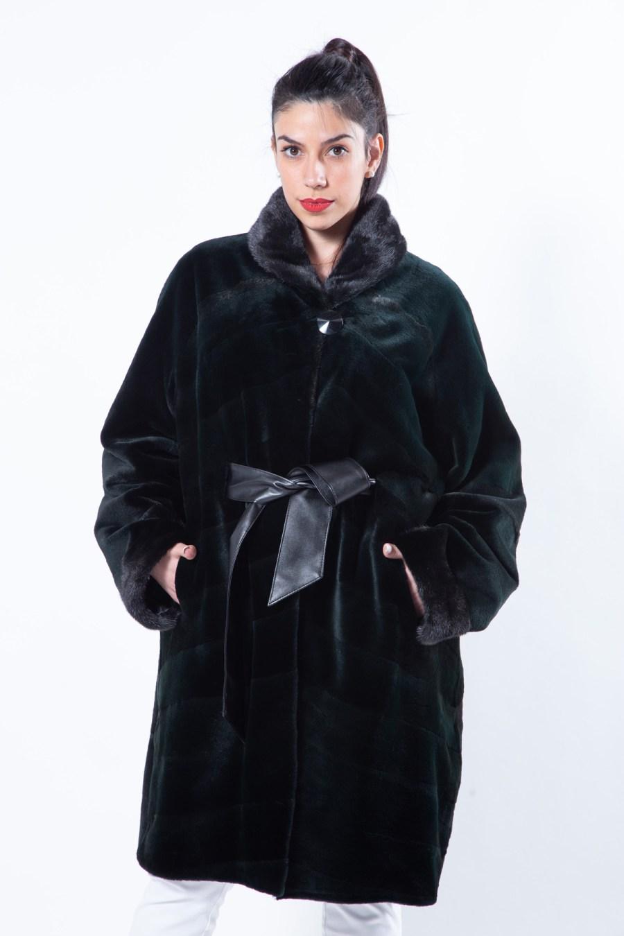 Shock Green Sheared Mink Jacket   Sarigianni Furs