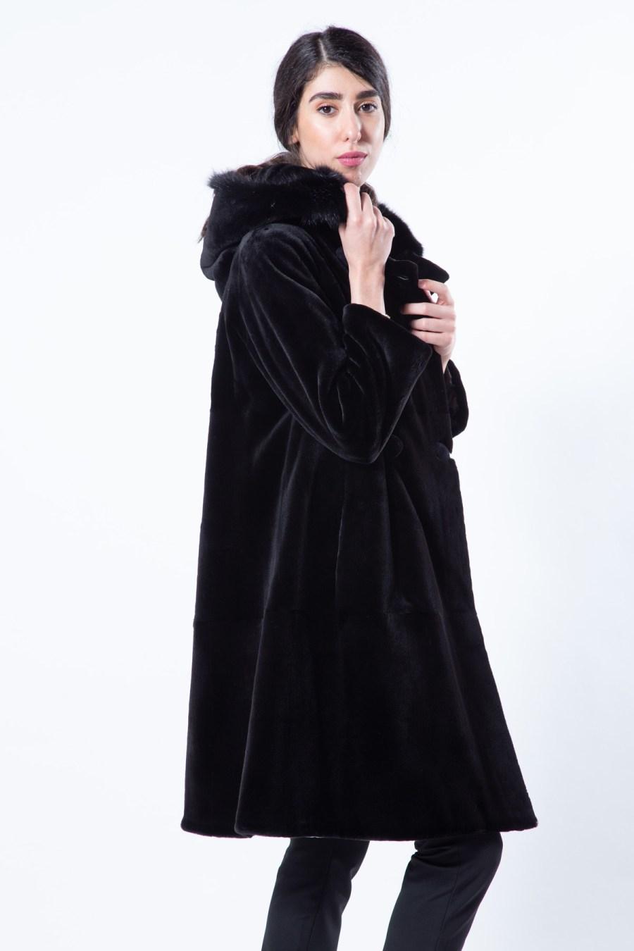 Black Sheared Mink Jacket with Hood   Sarigianni Furs