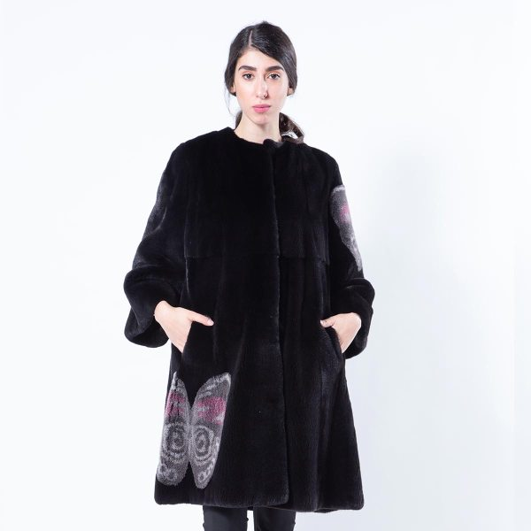 Blackglama Mink Coat with Butterfly Print | Sarigianni Furs