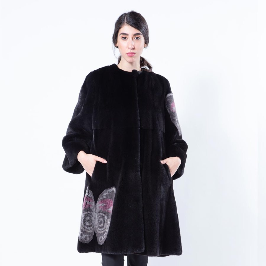 Blackglama Mink Coat with Butterfly Print | Шуба из норки Blackglama с принтом с бабочками - Sarigianni Furs