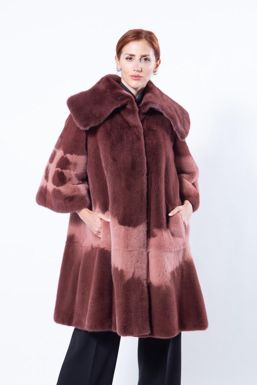 Purple Mink Jacket with short sleeves | Пальто из меха норки пурпурного цвета - Sarigianni Furs