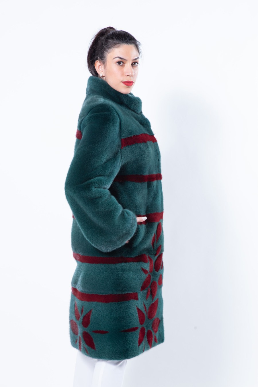 Shock Green Mink Jacket with Stripes and Flowers | Sarigianni Furs