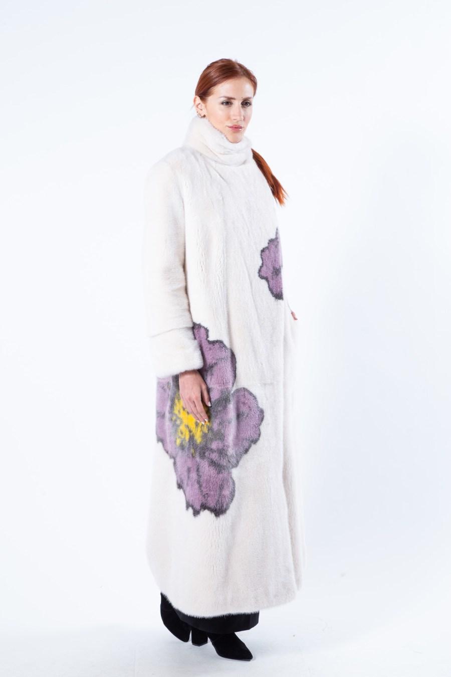 Beige Scuro Mink Coat with Flower Print | Sarigianni Furs