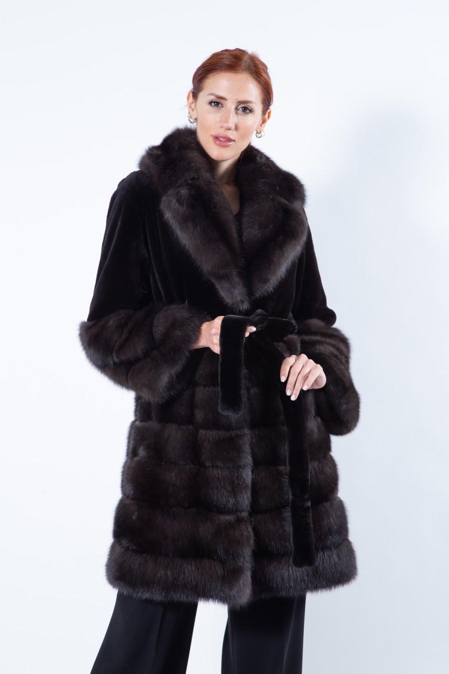 Auro Silvery Sable Jacket | Пальто Ауро из соболя серебристого оттенка - Sarigianni Furs