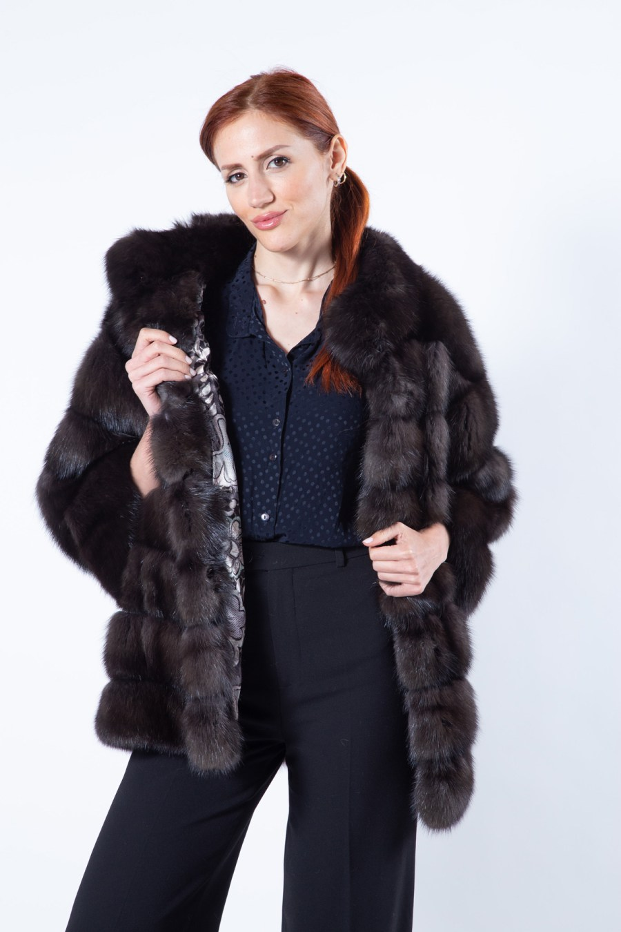 Barguzin Sable Jacket with 7/8 Sleeves | Пальто из меха баргузинского соболя с рукавами 7/8 - Sarigianni Furs