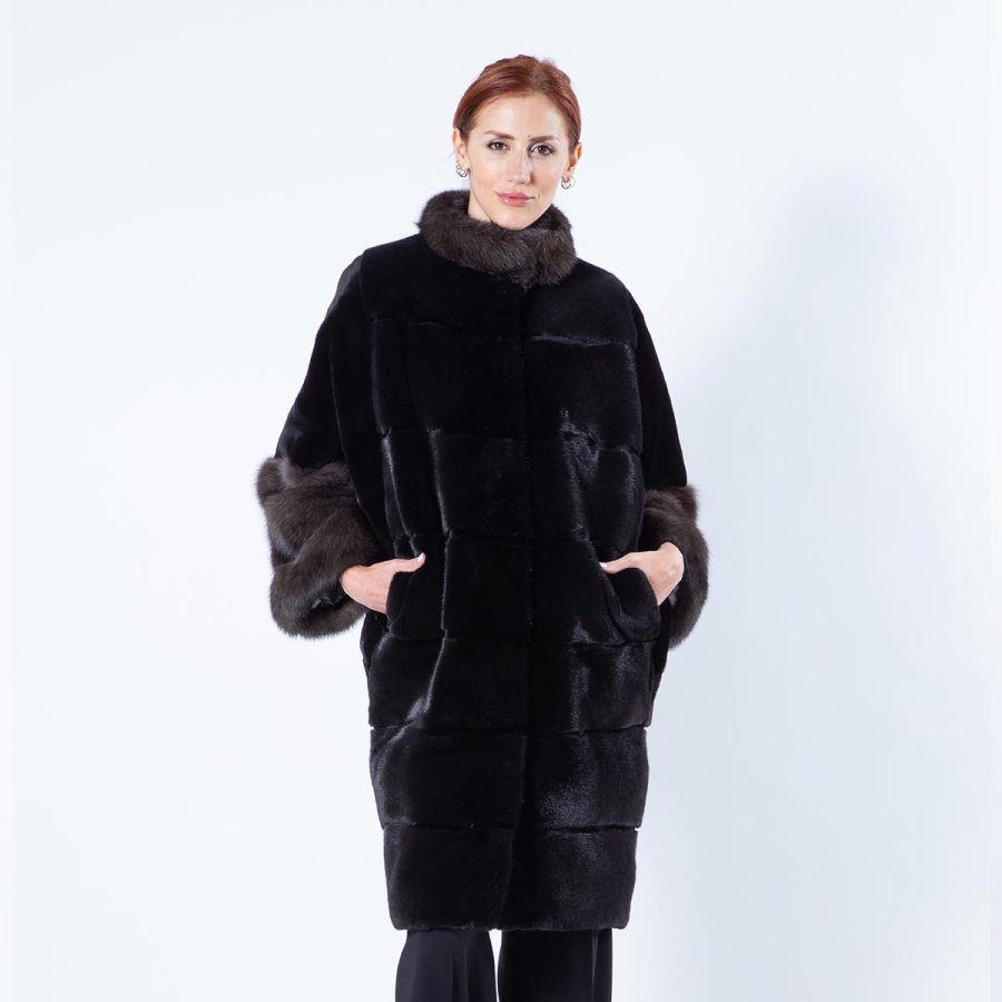 Esmeralda Blackglama Mink Jacket with Sable Cuffs | Sarigianni Furs