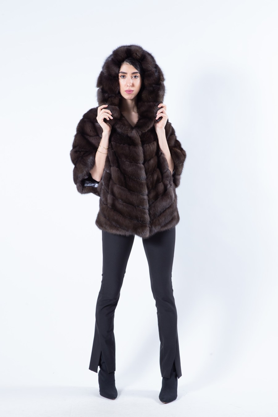 Dark Sable Fur Coat with Hood | Sarigianni Furs
