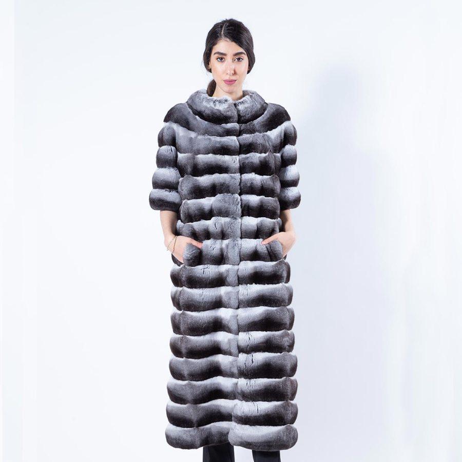 Chinchilla Fur Coat with short Sleeves | Шуба из меха шиншиллы с короткими рукавами - Sarigianni Furs