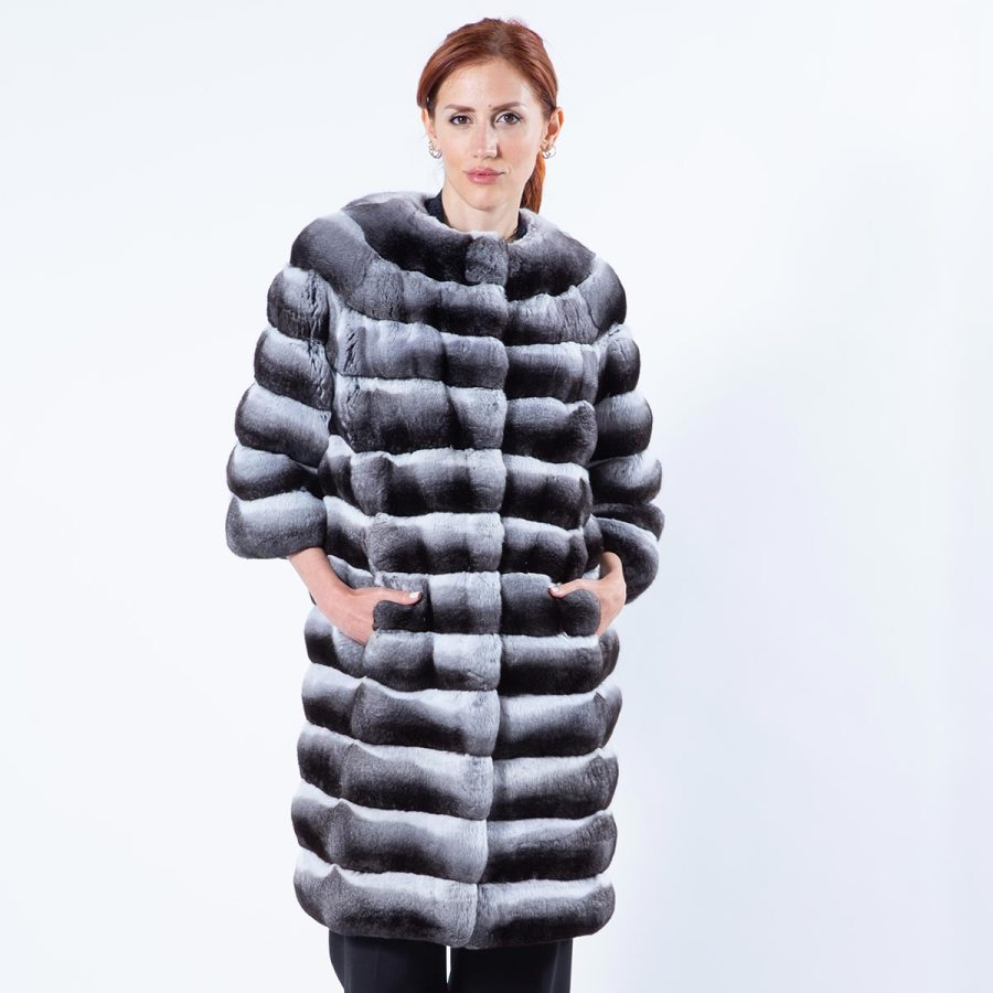 Chinchilla Fur Jacket with 3/4 sleeves | Sarigianni Furs