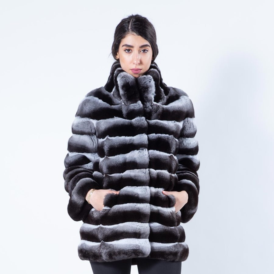 Chinchilla Fur Jacket with normal sleeves | Sarigianni Furs
