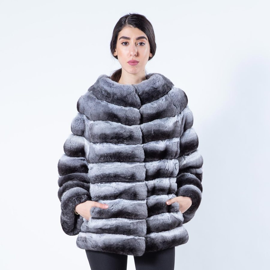 Chinchilla Fur Jacket with 7/8 sleeves | Sarigianni Furs