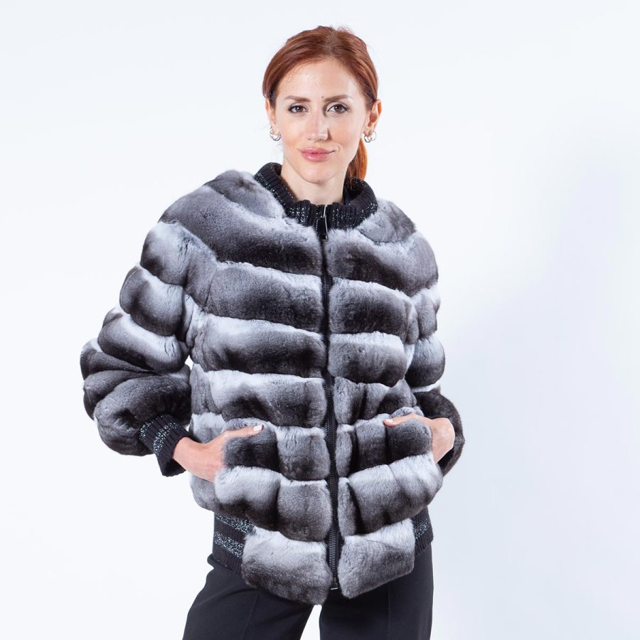 Chinchilla Jacket with Knit trim | Sarigianni Furs