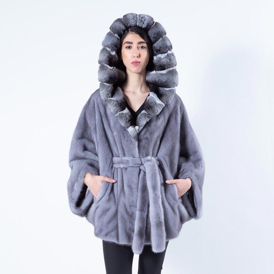Gabriela Blue Iris Mink Cape with Hood | Sarigianni Furs