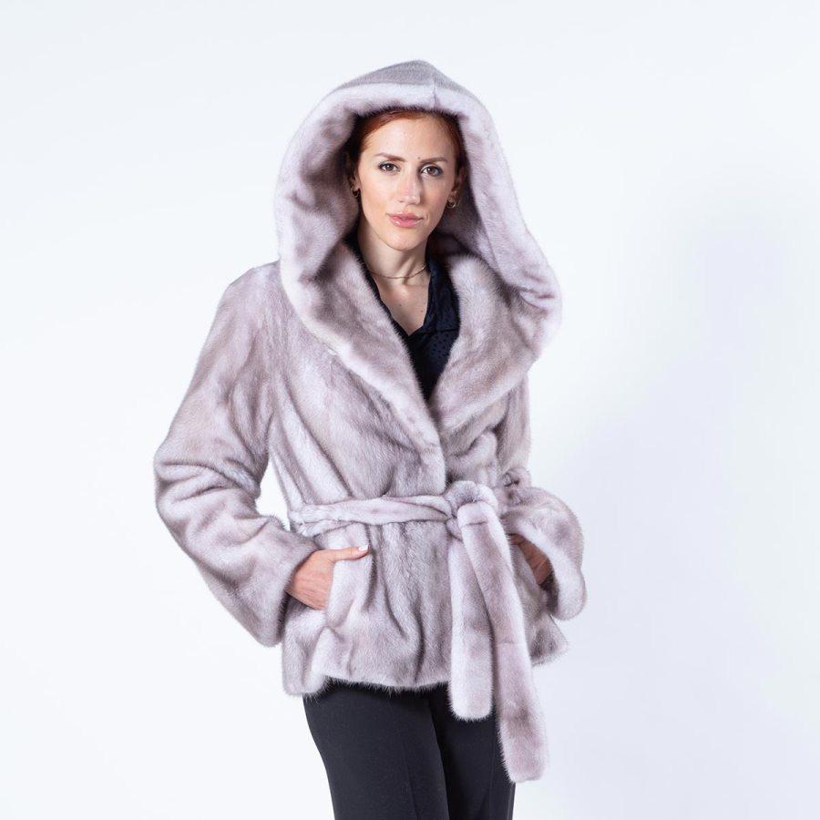 Aurora Ice Fume Mink Jacket with Hood | Пальто Аврора из норки цвета Ice Fume с капюшоном - Sarigianni Furs