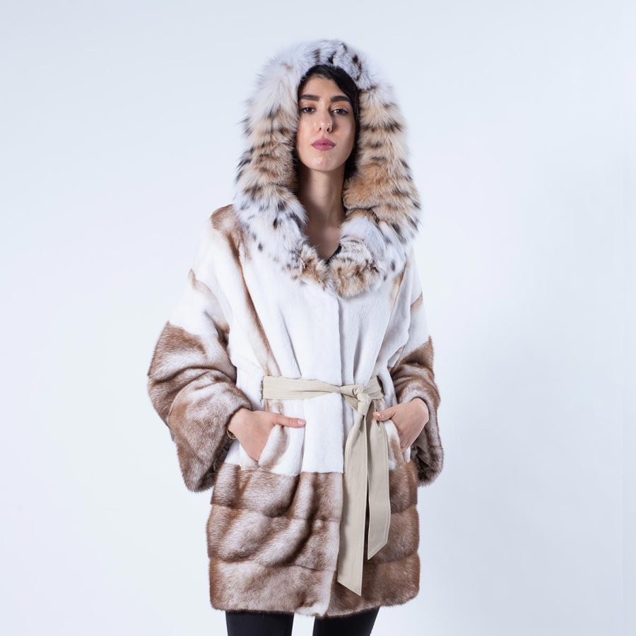 Goldwhite Sheared Mink Jacket with Bobcat Hood | Sarigianni Furs