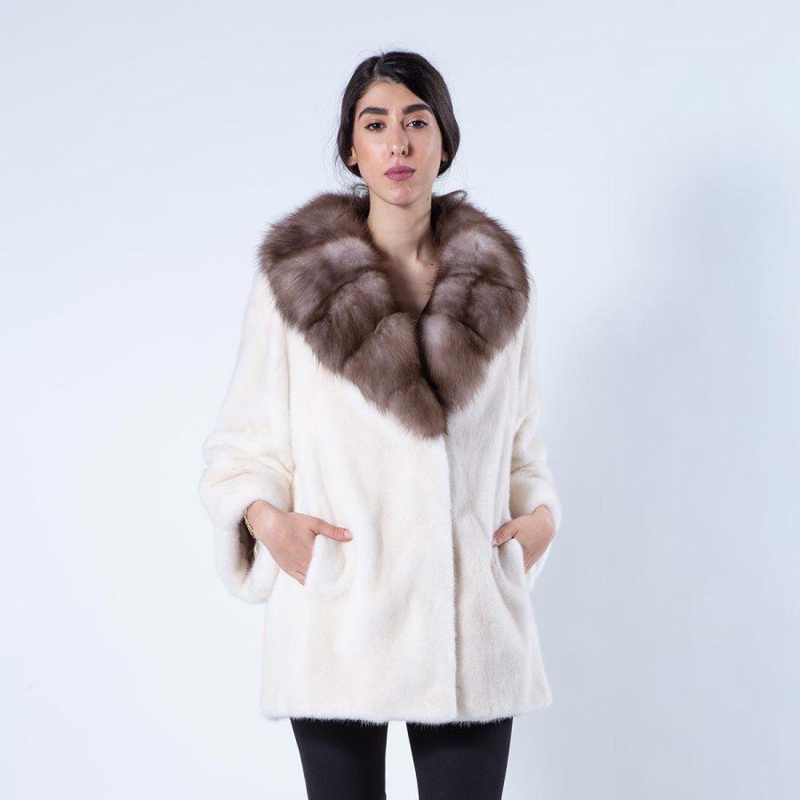 Pearl Beige Mink Fur Jacket | Пальто из меха норки цвета Pearl Beige - Sarigianni Furs