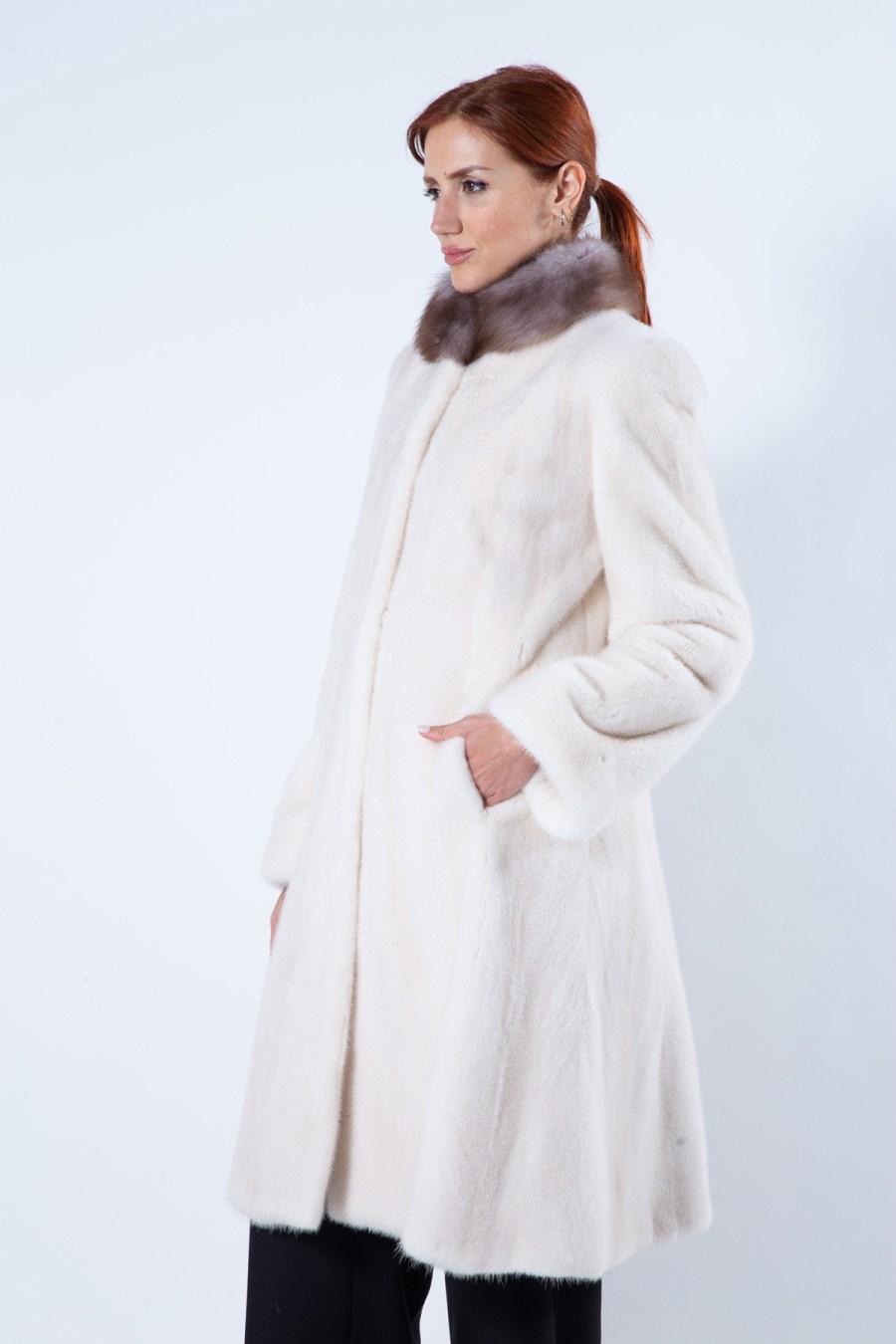 Pearl Beige Mink Fur Coat with Marten collar - Sarigianni Furs