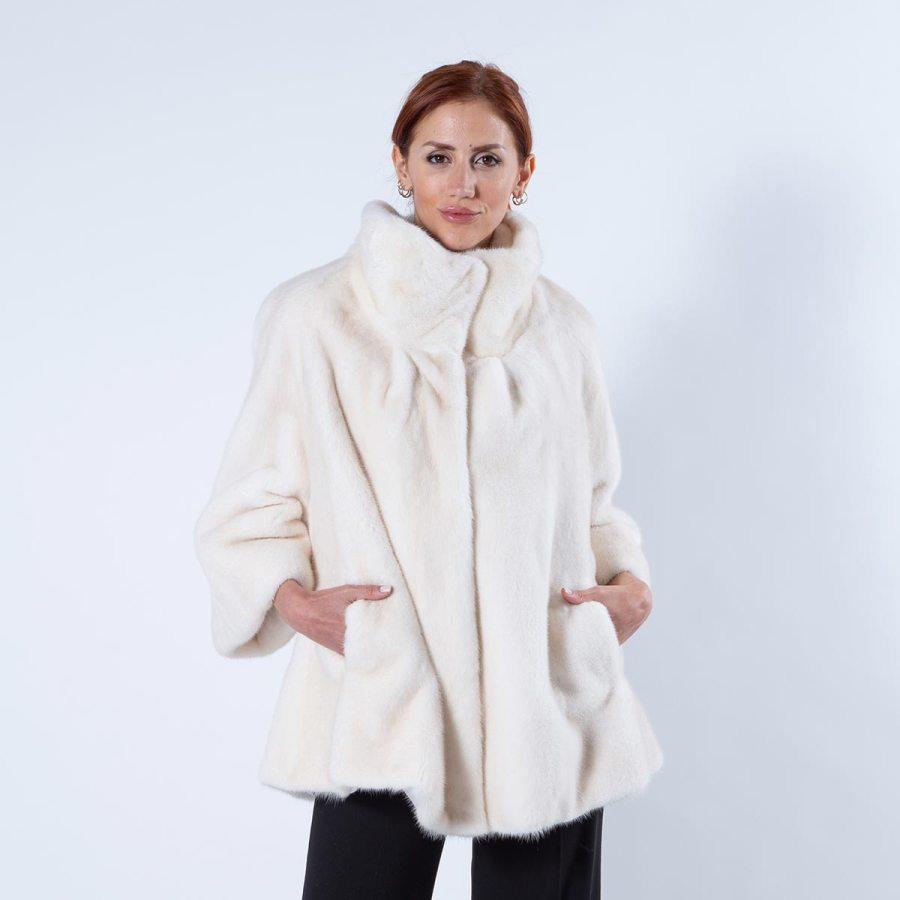 Pearl Mink Fur Jacket | Пальто из меха норки «жемчуг» с воротником - Sarigianni Furs