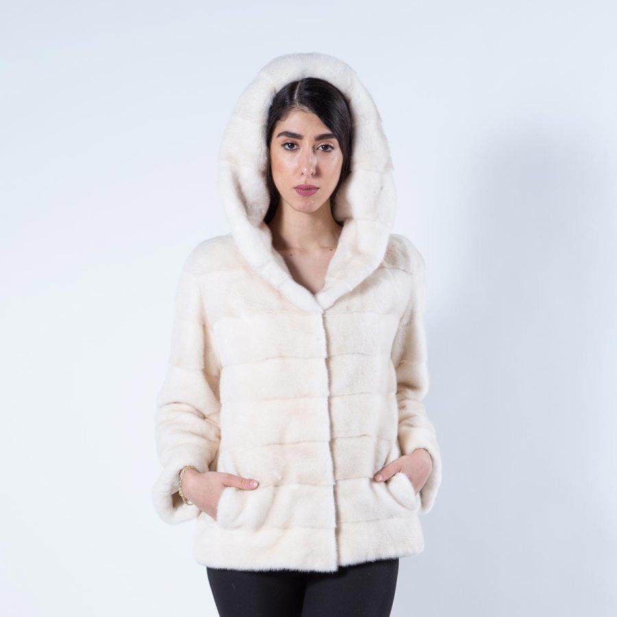 Pearl Mink Jacket with hood | Sarigianni Furs