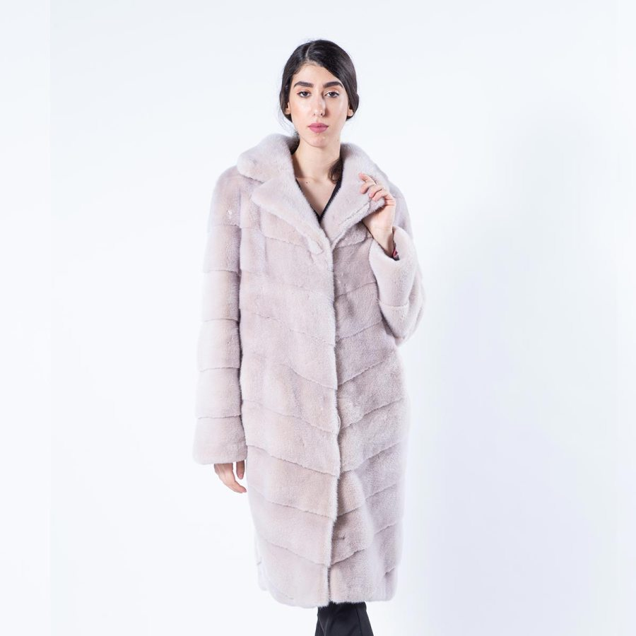 Ivory Mink Fur Coat | Шуба из меха норки цвета «слоновая кость» - Sarigianni Furs