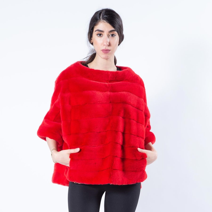 Cherry Mink Fur Blouse with short sleeves | Sarigianni Furs