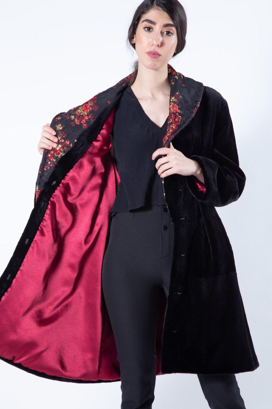 Black Sheared Mink Fur Jacket with regular sleeves | Sarigianni Furs