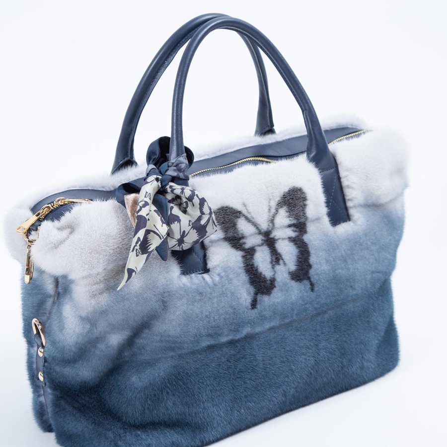 Blue Degrade Mink and Leather Bag with Butterfly print - Sarigianni Furs