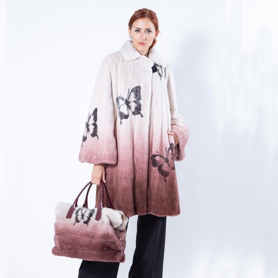 Mink Fur Jacket with Butterfly Print in Bordeaux Degrade | Пальто из норки бордового цвета - Sarigianni Furs