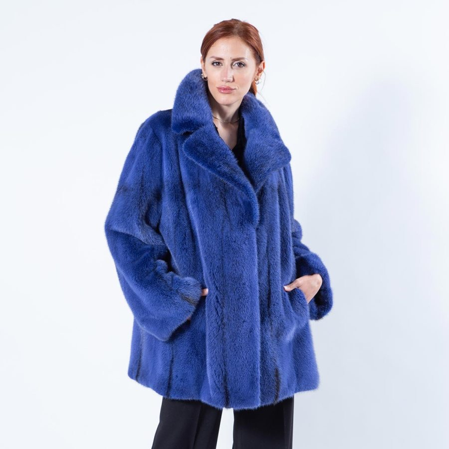 Shock Blue Mink Fur Jacket - Sarigianni Furs