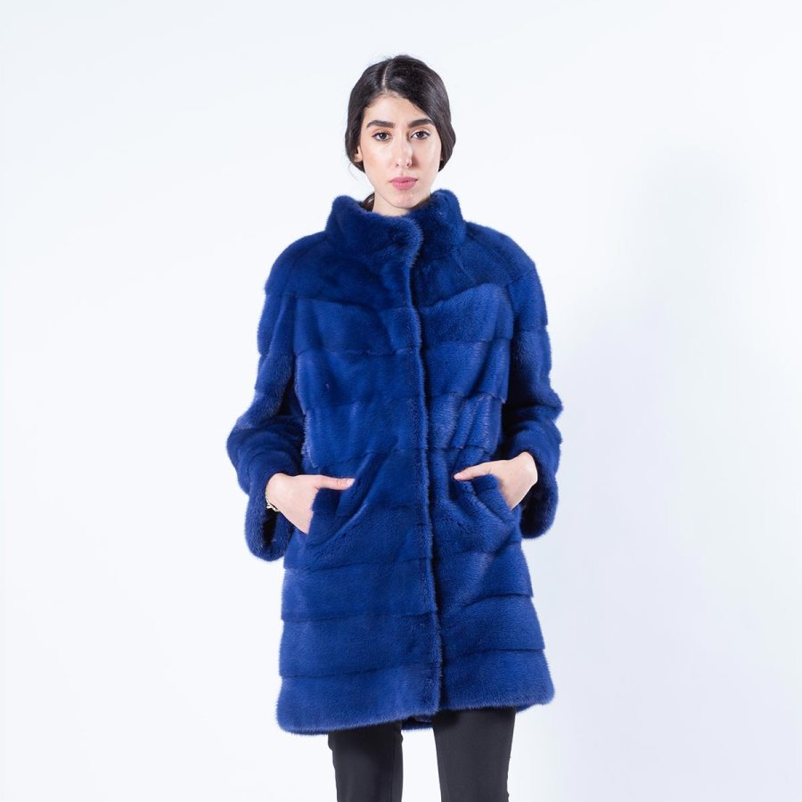 Shock Blue Mink Fur Jacket | Пальто из меха норки цвета Shock Blue - Sarigianni Furs