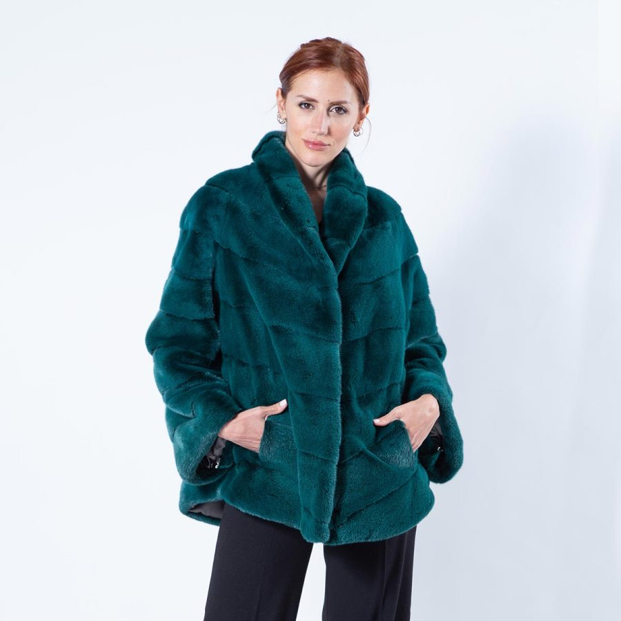 Shock Green Mink Jacket | Пальто из норки – цвет Shock Green - Sarigianni Furs
