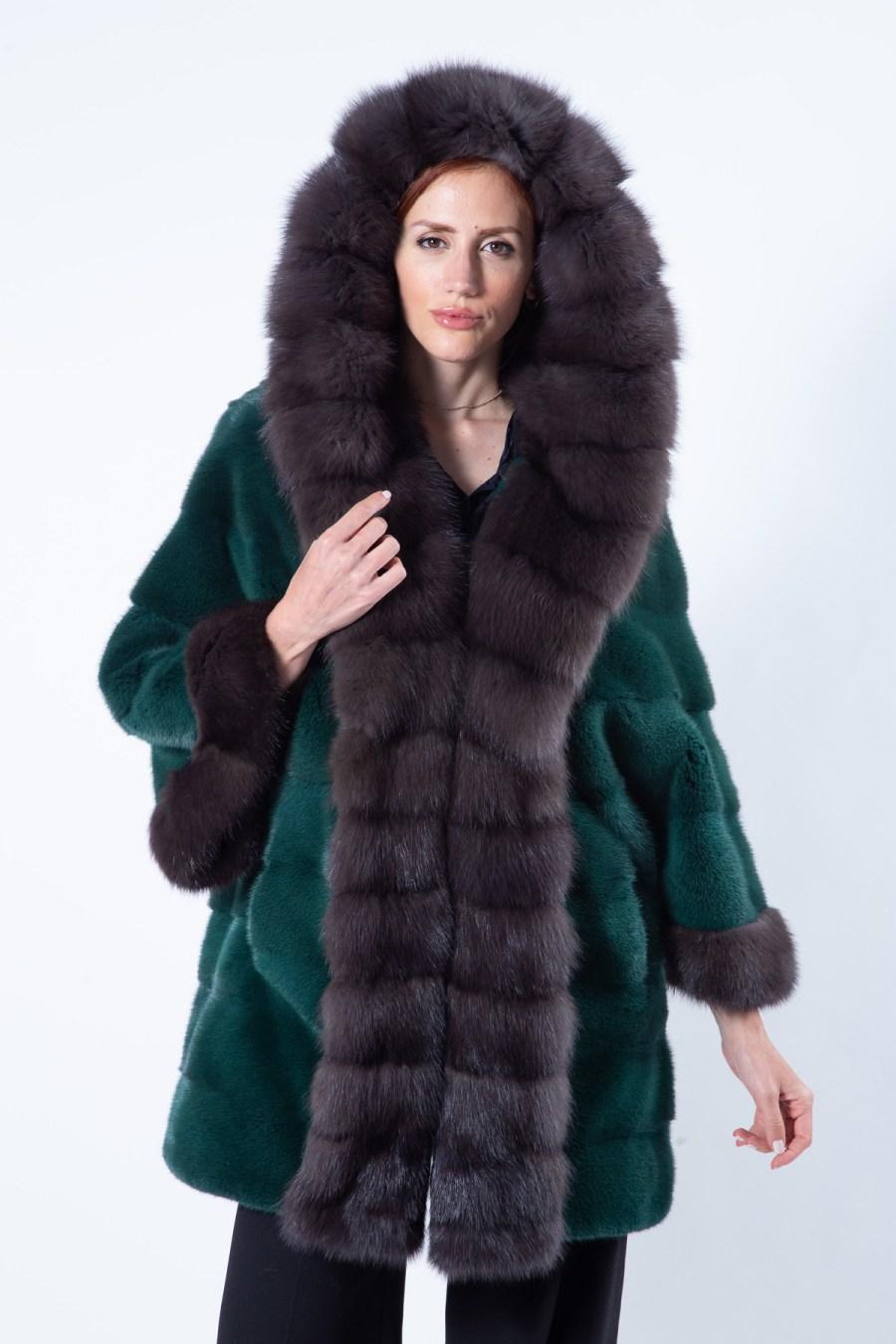 Tatiana Shock Green Mink Jacket with hood - Sarigianni Furs