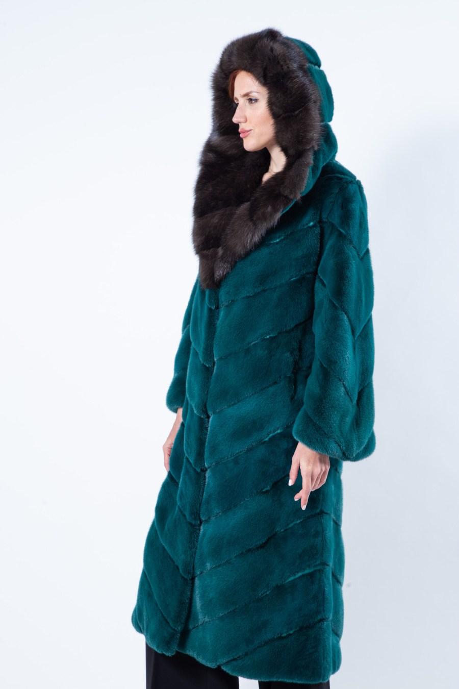 Ferre Shock Green Mink Coat with Hood - Sarigianni Furs