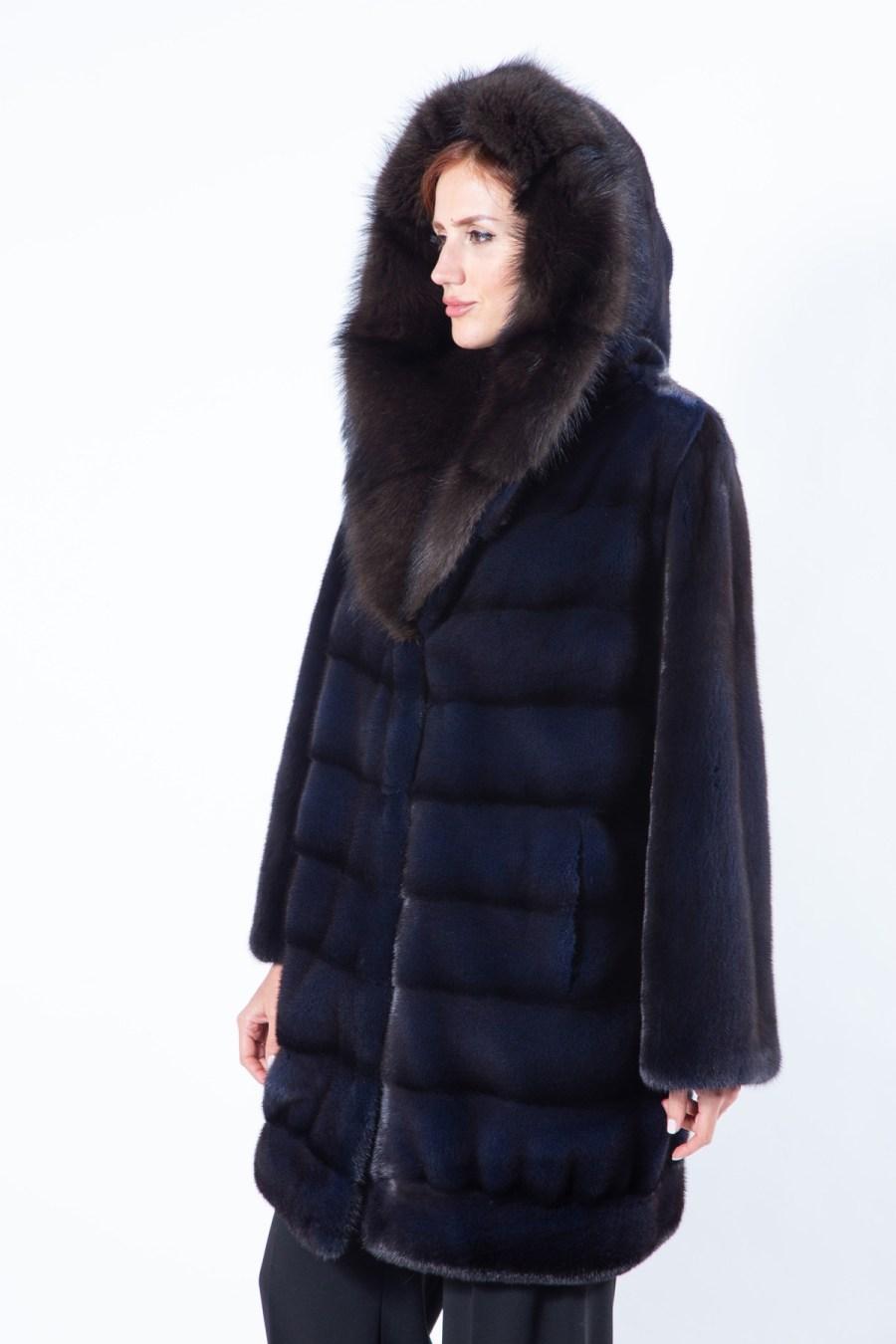 Royal Blue Mink Fur Jacket with Hood | Пальто из меха норки цвета Royal Blue с капюшоном - Sarigianni Furs