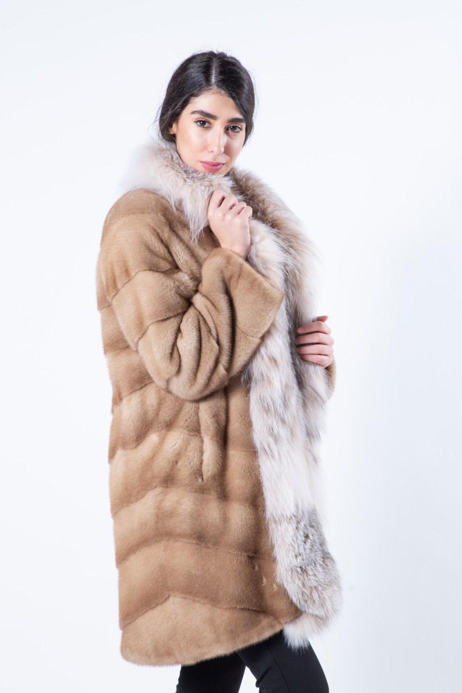 Pastel Mink Jacket with Lynx front - Sarigianni Furs