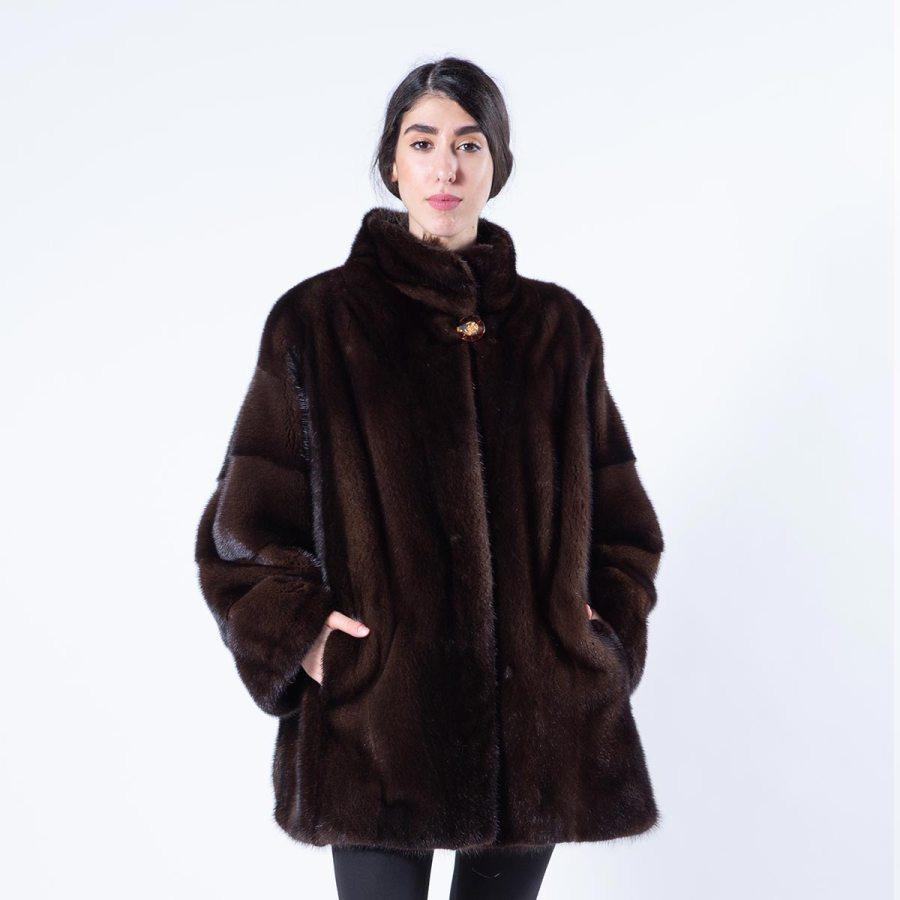 Mahogany Mink Jacket with stand collar - Sarigianni Furs