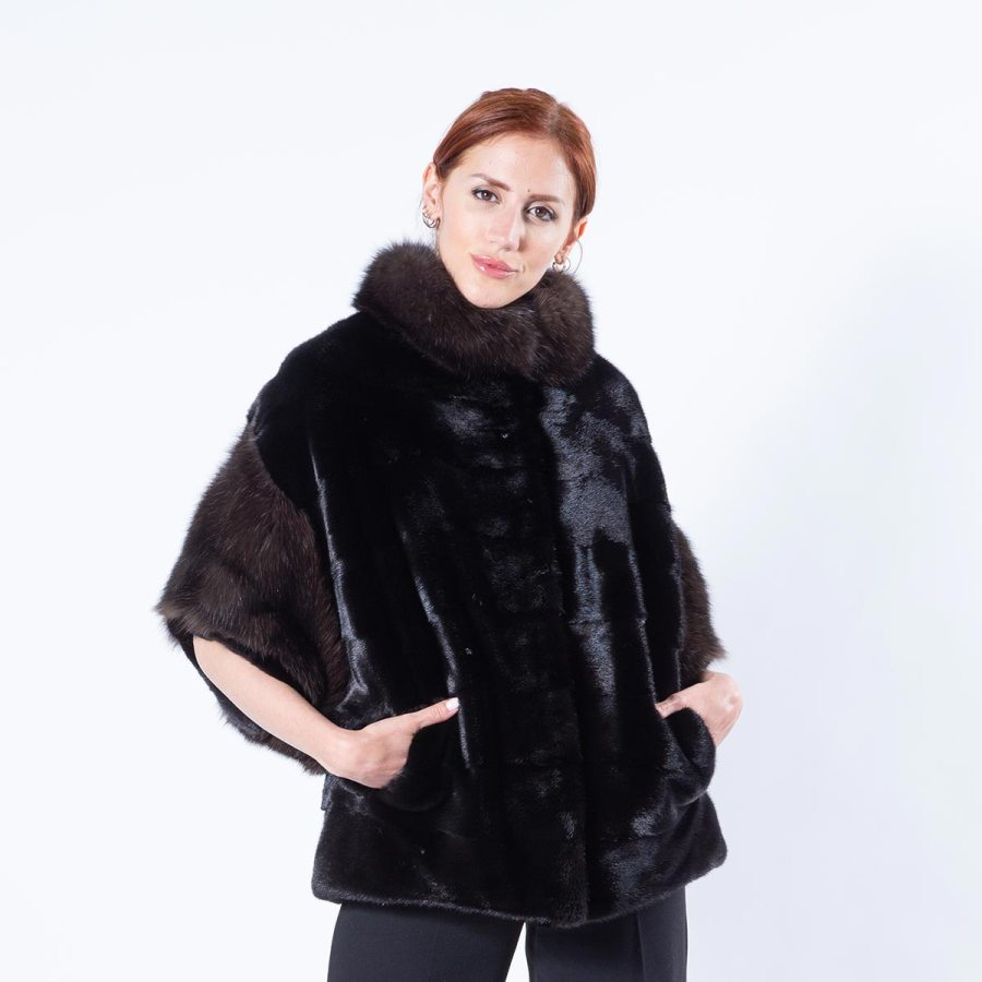 Blackglama Mink Cape with sable collar and cuffs | Кейп из норки Blackglama с воротником и манжетами - Sarigianni Furs