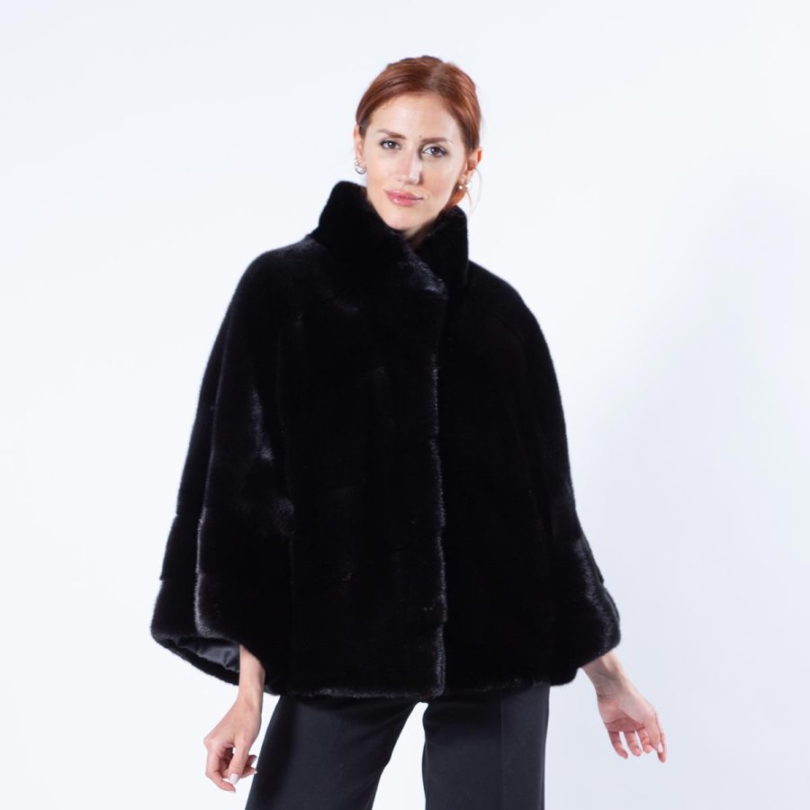 Blackglama Mink Cape with 7/8 sleeves | Кейп из норки Blackglama с рукавами 7/8 - Sarigianni Furs