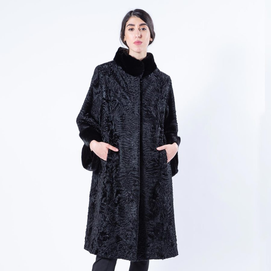 Black Swakara Coat with Mink collar and cuffs - Sarigianni Furs