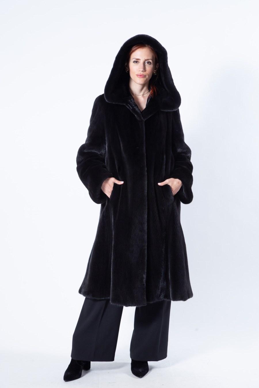 Blackglama Mink Coat with hood - Sarigianni Furs