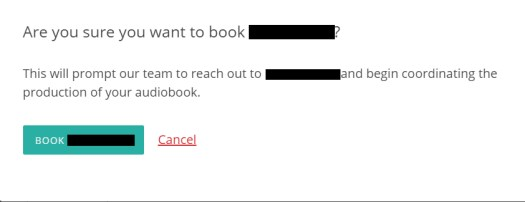 The Audiobook Diaries | Week 4 | Narrator Booking Confirmation Pop Up