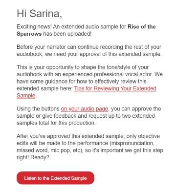 The Audiobook Diaries | Week 11 - extended sample notification