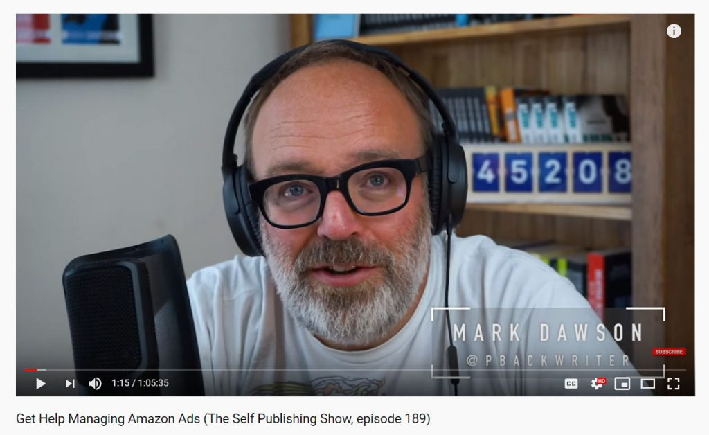 6 YouTube Channels for Writers | Example: The Self-Publishing Formula's video 'Get Help Managing Amazon Ads'