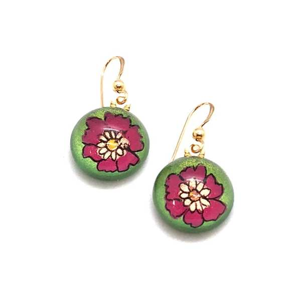 Hand Painted Floral Glass Earrings
