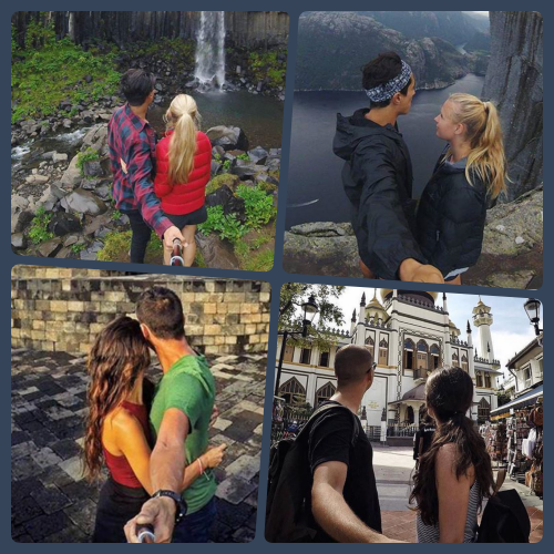 collage backie pretending not to look couples