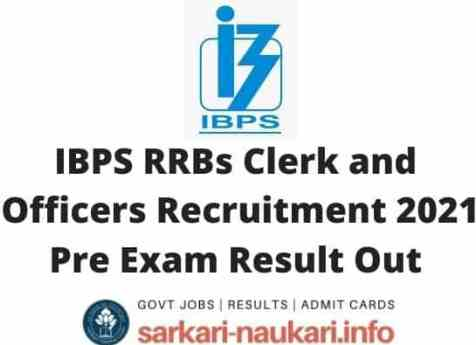IBPS RRBs Clerk and Officers Recruitment 2021 Pre Exam Result