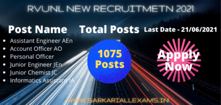 Read more about the article Rajasthan RVUNL Various Post Recruitment 2021