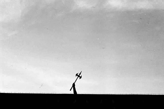 silhouette of man jumping on the field