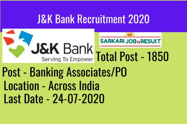 Jk Bank Recruitment 2020 1850 Po And Banking Associate Post