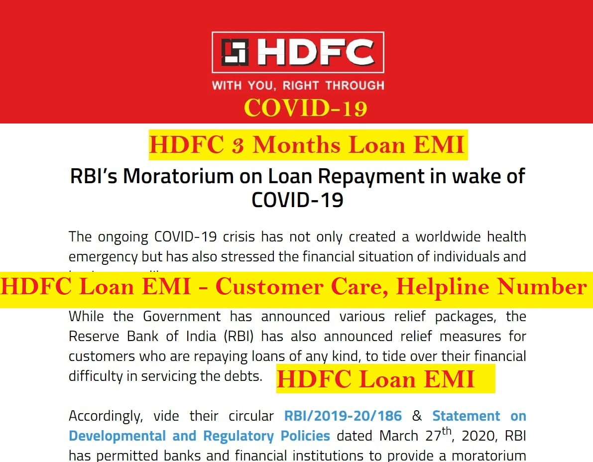 covid-19 hdfc loan emi customer care